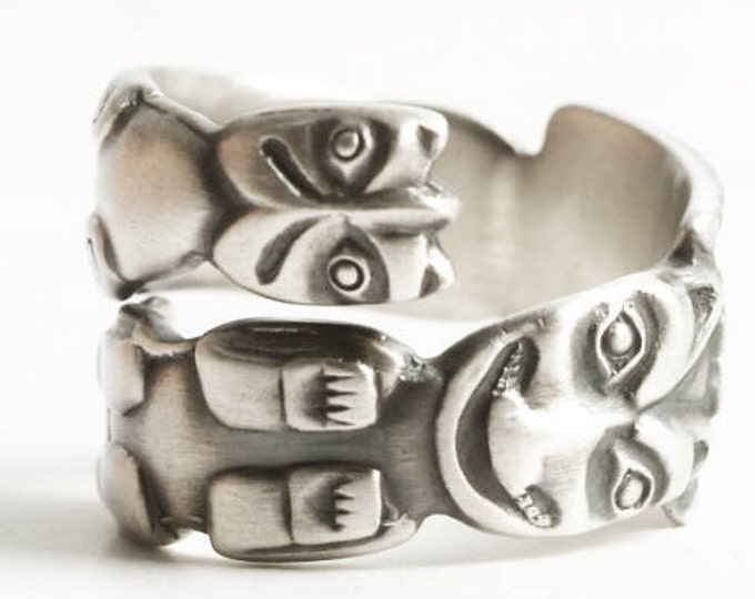 Animal Totem Pole Ring, Sterling Silver Spoon Ring, Alaska Jewelry, Alaskan Jewelry, Tribal Unique Animal Ring, Adjustable Ring Size (6879)