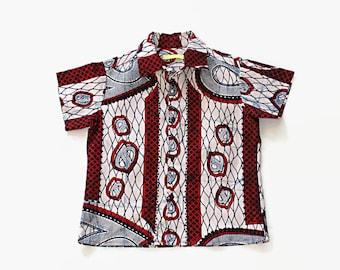 African Print boys shirt, Ankara boys shirt, African wax print boys shirt, Boys shirt