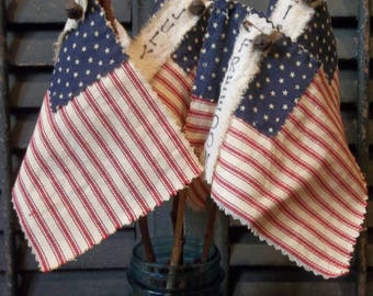 Gathering of Primitive Handmade Americana Flags Attached to Twigs