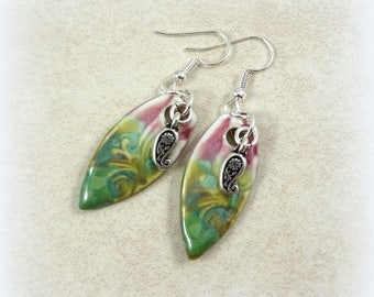 """Pink and Green Earrings, """"Watermelon"""" Artisan Glazed Ceramic Drops with Silver Drop, Green Earrings, Pink Earrings, Rustic Artisan Earrings"""