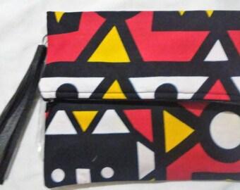 African Print fold over clutch purse with tassel zipper ankara fabric date night bridesmaid gift handbag tribal print firecracker bag
