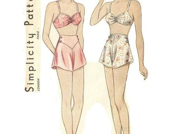 1930s Bra and Panties Pattern, Lingerie, Tap Panties, Size 18, Bust 36, Simplicity 2288, Vintage Sewing Pattern