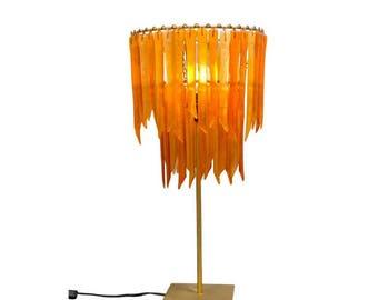 Tangerine Botanica – Double Table Lamp - Tall Orange Lamp - Glass Lighting - Pendant Light - Light Fixture - Decor