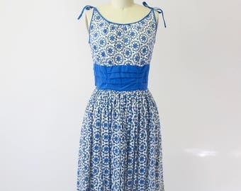 1950s Blue and White Eyelet Cotton Sun Dress