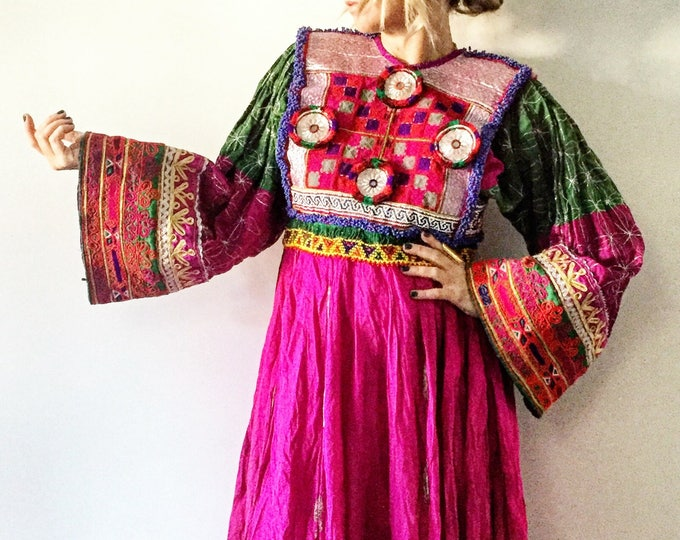 Featured listing image: Vintage Kuchi Tribal Dress , Embroidered Beaded Silk Afghan Midi Dress
