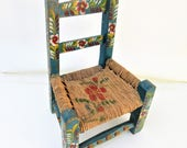 Vintage Doll Chair | Mexican Child Chair | Mini Chair | Handpainted Chair | Baby Chair | Display Stand