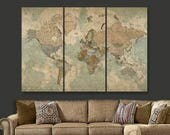 Travel Map of World on CANVAS, World Map Decor, World Map Canvas art, Large Canvas,  World Map Art, World Map Print, Modern Map, Vintage Map