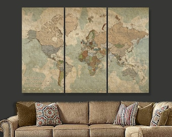 Items similar to wall art world map print world map canvas large art travel map of world on canvas world map decor world map canvas art gumiabroncs Choice Image