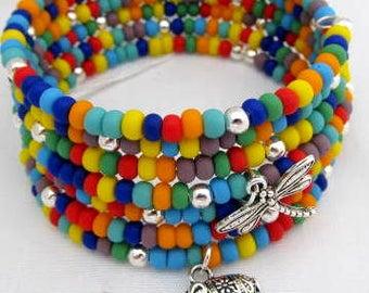 Multi color, coil, cuff, Silver Charms, 7 coils