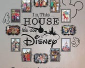 In this house we do disney  4 x 6 or 5 x 7 photo clock with working clock parts/hands decal large wall clock CL333 VINYL FRAMES