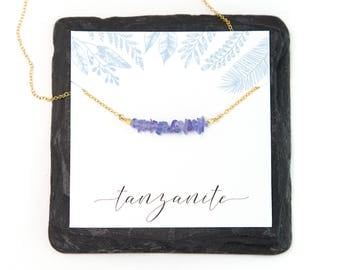 Tanzanite Healing Crystal Necklace, Inspirational Necklace Gift, Raw Crystal Jewelry, Gift for Friend, 14k Gold Filled, Necklace Card, Boho