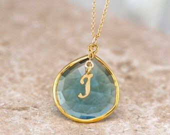 December Birthstone Necklace, Blue Topaz Necklace Gold, Personalized Initial Necklace, Monogram Jewelry, Jewelry Trends, Meaningful Gifts