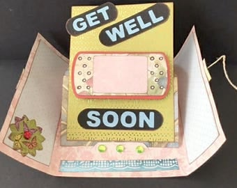 Get Well Soon, Gate-fold Pedestal Card Kit, SVG and DS Compatible