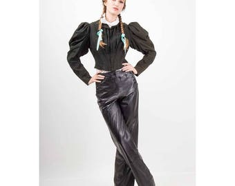 Vintage Helmut Lang leather pants / 1990s glossy black leather sailor style button flap / High waist straight leg / S