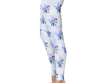 Watercolor Husky Leggings, Capris or Yoga Pants