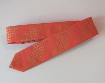 Modern Holiday Skinny Tie in Persimmon, Metallic Gold // Cotton Necktie