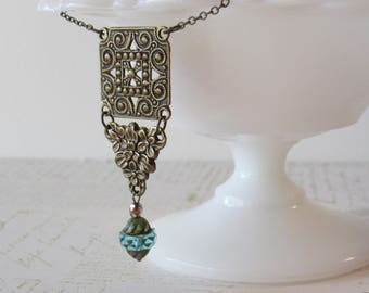 Art Deco Floral Princess Necklace // Filigree Geometric Brass and Aqua Artisan Czech Glass // Chain Necklace // Short // 1920s