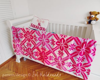 Crochet Blanket Pattern granny square - tapestry crochet Aloha Floral blankie - Instant DOWNLOAD