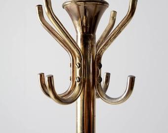 vintage brass coat rack, freestanding metal hall tree