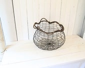 RESERVED FOR NAOMI: 2 items combined---Wire Art Basket and Wood Panel Wall Assemblage with Silver Teapot
