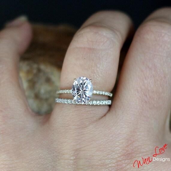 Forever One Moissanite Diamond Oval Engagement Ring Set