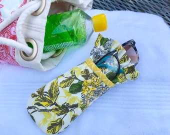 Yellow Picnic Floral dual sunglass case
