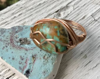 wire wrapped turquoise ring in 14k rose gold fill