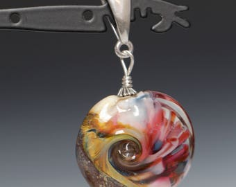 Ivory Beaded Accent with Implosions Glass Lampworking Sterling Silver Pendant