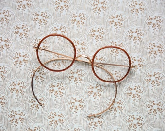 Antique Round Windsor 10k Spectacles with case-late 1800s early 1900s, Harry Potter Glasses, John Lennon Glasses, Vintage Eyewear