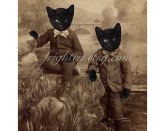 Black Cat Art Print, Twin Brothers, Cats in Clothes, Anthropomorphic, Victorian Animals, Collage Art Print, Halloween Decor
