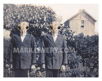 Halloween Art Print, Creepy Twins with Bird Skulls Altered Art 11 x 8.5 inch Print, Weird Halloween Spooky Wall Decor