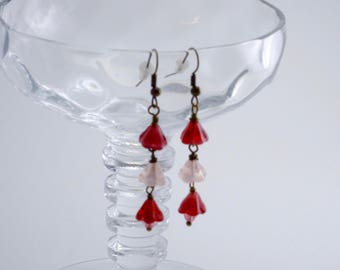 Red And Pink Czech Glass Flower Bead Earrings