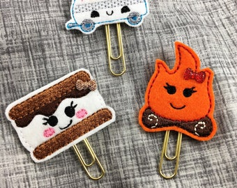 Camping Feltie Clips, Planner Clips, Bible Bookmark, Planner Accessories, Textbook Bookmark, Office Supplies, Bookmark