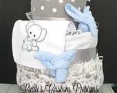 Elephant Blue Gray Diaper Cake, Baby Shower Table Cake Centerpiece, Baby Boy Elephant Diaper Cake, Unique Baby Gift, Embroidered Diaper Cake