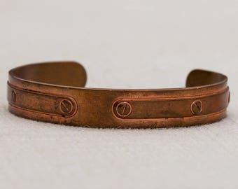Copper Etched Screws Avon Brand Vintage Bracelet Bangle Costume Jewelry Cuff 7AR