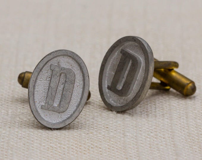 "D Cuff Links Vintage Cufflinks Letter ""D"" Initial Monogram 1960s Groom Accessory Mens Simple Classic Silver Oval Tuxedo 7UU"