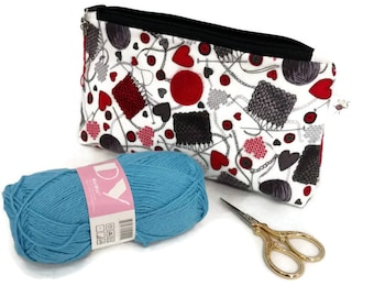 Small Flannel Red & Gray Yarn and Knitting Needles Zipper Storage Project Pouch S327