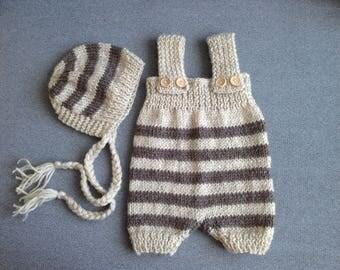 newborn set, beige set of romper and bonnet, newborn romper, newborn hat, newborn girl, newborn photo prop, knit baby hat, newborn bou props