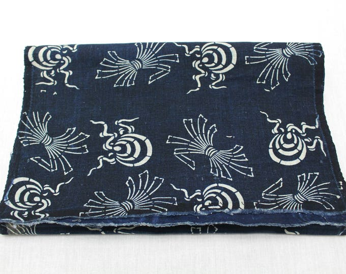 Japanese Katazome Cotton. Boro Textile. Natural Indigo Stencil Dyed Folk Fabric  (Ref: 1896)