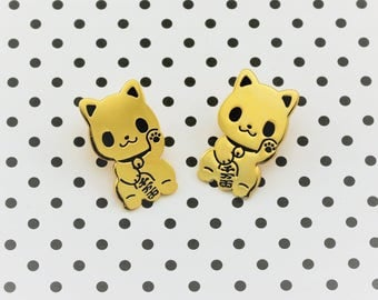 Maneki Neko Enamel Pin - Seconds Sale