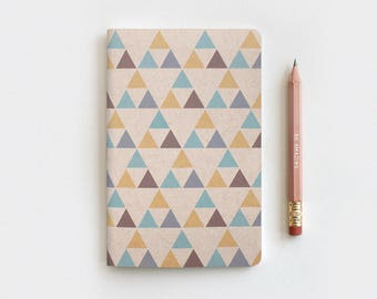 Handcrafted Triangles Geometric Notebook & Pencil Set - Recycled Journal - Native American Inspired Gifts for Him