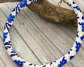 Blue Bead crochet  necklace , beaded jewelry, beadwork necklace, Statement crochet jewelry rope necklace,  Gift ideas for wife
