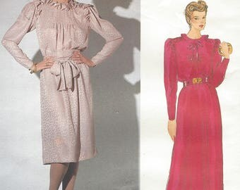 1980s Nina Ricci Womens Chemise Dress & Belt Shoulder Detail Day or Evening Length Vogue Sewing Pattern 1122 Size 12 Bust 34 FF