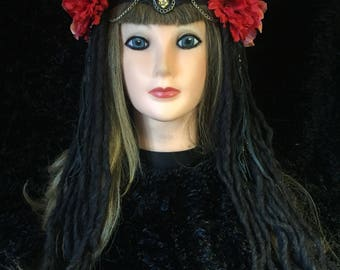 Beautiful goddess headband with chain leather faux dreads and much more