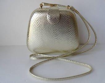 Vintage GOLD CANTEEN BAG Vintage Gold Snakeskin Cross body Handbags Gold Snakeskin Purse Vintage Leather Shoulder Bag Gold Leather Handbags