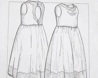 Sewing Pattern Wendy Schoen Petite Poche Sleeveless Penny Dress Embroider Trim Girl Tween Size 7 8 10 12 14 Chest Bust 26 27 28 30 32 UC FF