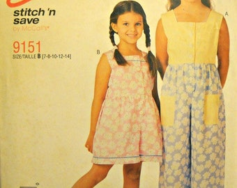 Easy Stitch 'n Save 9151, Girl's Jumpsuit and Rompers Pattern, Sizes 7, 8, 10, 12, 14, Factory Folded Uncut