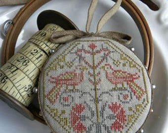 NEW Quaker Bird Pinwheel cross stitch patterns by Threadwork Primitives at thecottageneedle.com