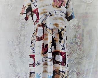 90s Novelty Print Mini Babydoll Dress