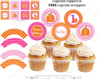 Pumpkin girl Cupcake Toppers PRINTABLE One First Birthday girl orange pink green chevron polka dot  1st birthday halloween fall -1051
